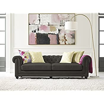 Elle Decor Amery Tufted Sofa, Velvet, Gunmetal