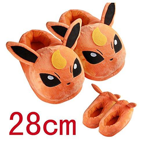 "Huajun®9 Style 11""28cm Pokemon Pikachu Eevee Sylveon Umbreon Espeon Jolteon Flareon Poke Ball Plush Slippers Stuffed Plush Shoes (Orange)"