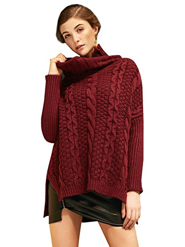 SheIn Women's Turtleneck Chunky Cable Knit Long Sleeve Sweater One-size Burgundy (Acrylic Cowl Neck Sweater compare prices)
