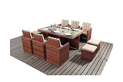 Manhattan braun 6 Personen, Gartenmöbel Balkon-Set, quadratisch bestellen