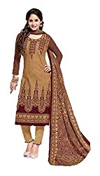 Nafees Creations Women's Cotton Unstitched Dress Material (Nafees- 0002_Brown _Free Size)