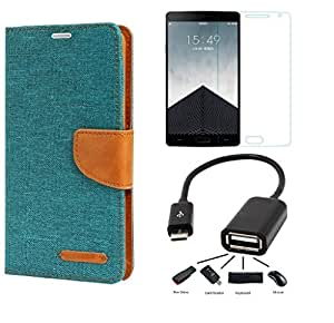 Relax And Shop Premium Drop Protection Flip Cover Cobo For Samsung Galaxy J5- (Green Flip l Tempered l OTG)