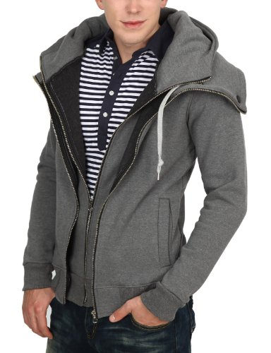 9Xis Mens Casual Fashionable Layered Zip-Up Hoodie GRAY M (9MH013)