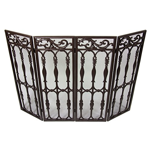 Westinghouse Wrought Iron 4-Panel Brown Fireplace Screen Mesh Decorative Scroll (Antique Fireplace Screen compare prices)