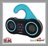 ShowerBooster Bluetooth Wireless Waterproof Shower Speaker & Handsfree Speaker Phone Works with all iOS & Android Devices including Siri on iPhone & iPad (Black with Blue Trim)