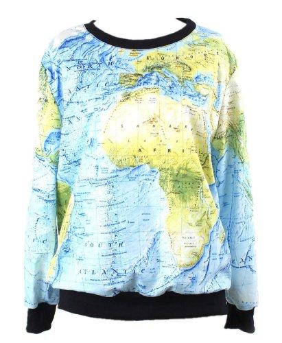 Pandolah Neon Galaxy Cosmic Colorful Patterns Print Sweatshirt Sweaters (Free size, Map)