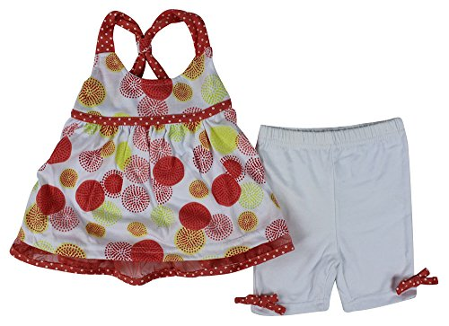 Alfa Global Baby Girl'S Infant-Toddler Racer Back Large Polka Dot Printed Comfortable Dress And Short Legging Pants 2Pcs Set 2 Years back-409385