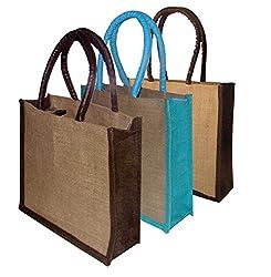 Foonty tote women Pack of 3 jute lunchbag (FJUWB6287)