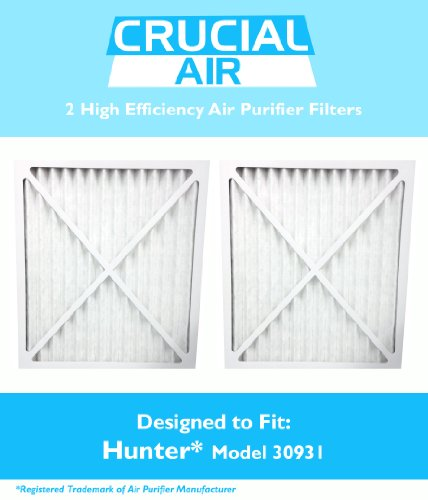 2 Hunter 30931 Air Purifier Filter, Fits Hunter Models 30201,30212,30213,30240 30241,30251,30378,30379,30380 30381,30382,30383,30526,30527,30528 & 30949, Designed & Engineered by Crucial Air