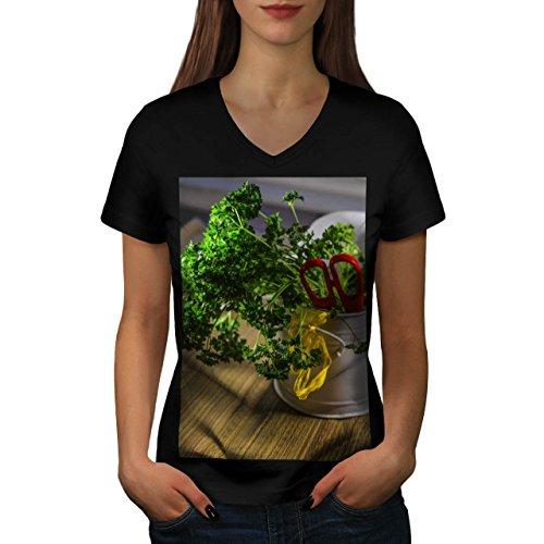 frais-vert-legume-persil-femme-nouveau-noir-l-t-shirt-wellcoda
