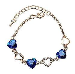 19 Likes Heart Blue Stone Charm Girl's Bracelet Albr0031Bl