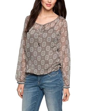 Comma Damen Regular Fit Bluse 81.404.11.6386, Gr. 44, Mehrfarbig (grey/black AOP)