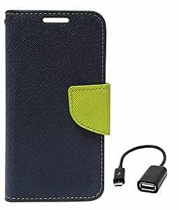 DMG Mercury Goospery Case Fancy Diary Flip Wallet Cover for Samsung Galaxy S4 Mini i919 (Pebble Blue) + USB OTG Cable