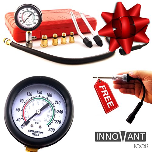 INNOVANT 9 Piece Set Complete Deluxe Gasoline Fuel Engine Automotive Compression Test Kit w/ Inline Spark Plug Tester- Detects Leakage Up To 300 Psi (21 Bar) Quickly Diagnose Internal Leaking Problems (Spark Plug Compression Tester compare prices)