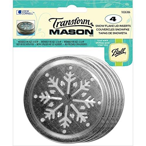 Loew-Cornell Transform Mason Ball Lid Inserts, Snowflake, 4-Pack (Transform Mason Ball Lid Inserts compare prices)