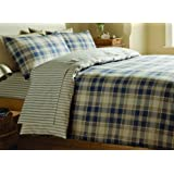 Catherine Lansfield Tartan Double Bed Quiltset - Navy