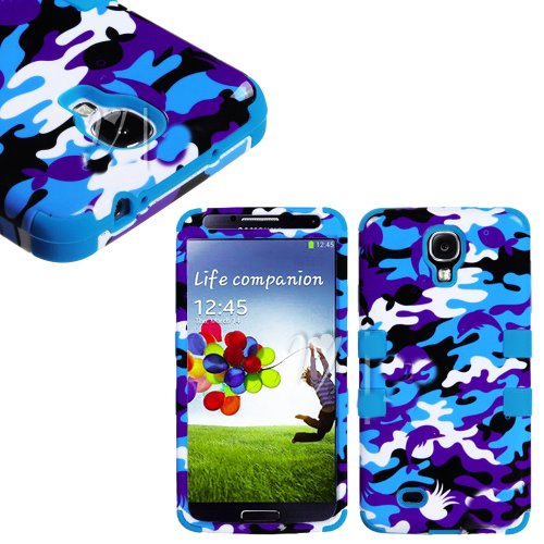 """Mylife (Tm) Sky Blue - Ocean Life Camouflage Design (3 Piece Hybrid) Hard And Soft Case For The Samsung Galaxy S4 """"Fits Models: I9500, I9505, Sph-L720, Galaxy S Iv, Sgh-I337, Sch-I545, Sgh-M919, Sch-R970 And Galaxy S4 Lte-A Touch Phone"""" (Fitted Front And"""