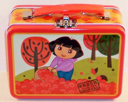 """Dora the Explorer """"Fresh From the Orchard"""" Small Embossed Lunch Box Tin/ Carry-all - 1"""