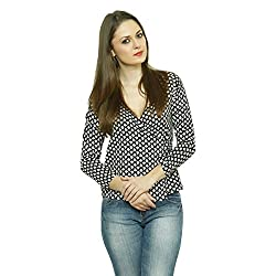 LEBE Women's casual printed wrap round cotton top