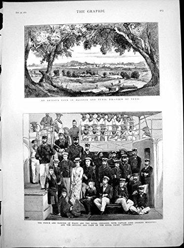 old-original-antique-victorian-print-view-tunis-prince-princess-wales-royal-children-royal-yacht-osb