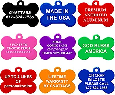 Bone Pet ID Tags | FOR SMALL DOGS | 8 Colors to Choose From| by CNATTAGS (LIFE TIME WARRANTY)