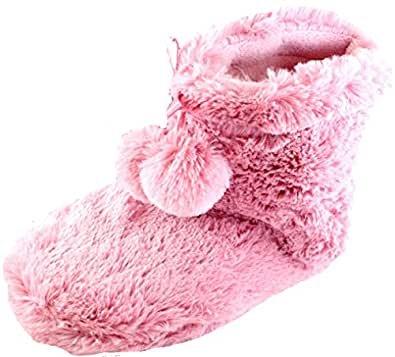 Ladies Tom Franks Pink Plush Fleece Lined Bootie Slippers Size 7-8