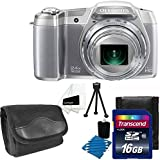 Olympus Stylus SZ-16 iHS Digital Camera with 24x Optical Zoom and 3-Inch LCD (Silver) + Compact Case + Table Top Tripod + Camera & Lens 3 Piece Cleaning Kit With 16GB Card Top Deluxe Accessory Kit
