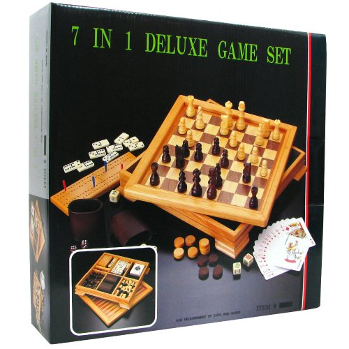 Deluxe 7 in 1 game set chess checkers backgammon and more brown toys games games board - Deluxe chess sets ...