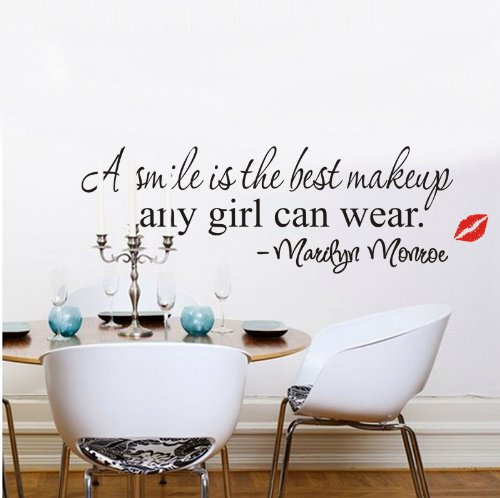 Homgaty Marilyn Monroe A Smile Is The Best Makeup Vinyl Wall Sticker Mural Decal Art Wallpaper For Home/Room/Office Nursery Decoration- The Perfect Birthday, Christmas Gift
