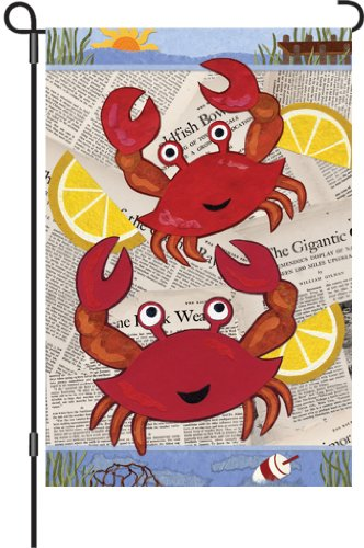 Premier 51051 Garden Illuminated Flag, Crab Feast, 12 by 18-Inch