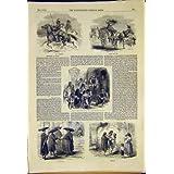 Impresión 1850 del Carro del Vino de los Monjes de los Ganaderos del Ganado de los Bosquejos de Roma