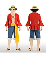 Cos-me One Piece Monkey D Luffy 2 Years Later with Shoes and Hat Cosplay Costume