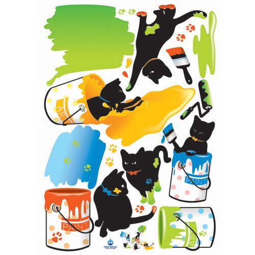 Nursery Easy Apply Wall Sticker Decorations - Splattered Kitten Paint