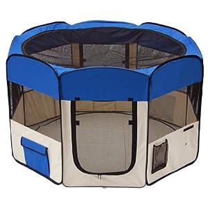 "57""x57""x37"" XL 2-Door Soft Pet Playpen Dog Puppy Exercise Crate Pen Kennel Blue"