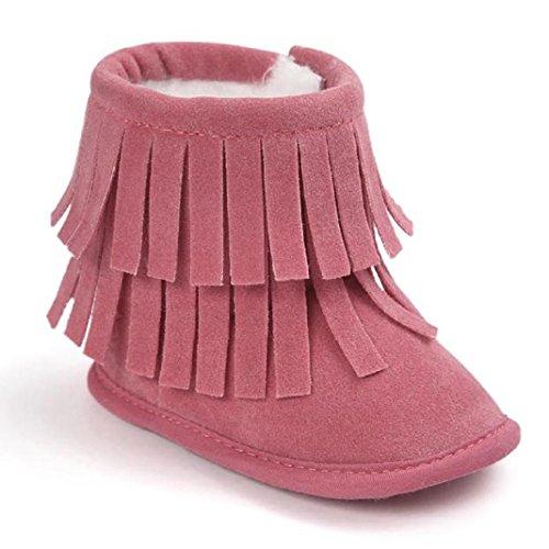 Kingko® Regalo di Natale del bambino del bambino del pattino infantile Snow Boots suola molle Prewalker greppia Scarpe Scarpe invernali Stivali per il neonato (12~18 mesi, Anguria rossa)