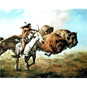 "Buffalo Hunt Native American Indian Art Poster Print - 20"" X 16"""