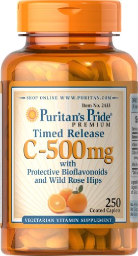 Puritan's Pride Vitamin C-500 mg with Rose Hips Time Release-250 Caplets oystercal d 500 mg compare and save 250 caplets free shipping