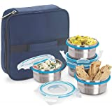 Steel Lock HL- 1241 Airtight 4 Pc Lock Steel Lunch / Meal /Tiffin Box With Cover & Handle