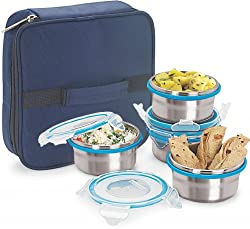 Steel Lock HL- 1241 Airtight 4 pc Lock Steel Lunch / Meal /Tiffin Box with Insulated bag