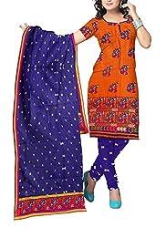 Shreya Fashion Women's Cotton Satin Unstitched Dress Material (VE004_Orange_Free size)