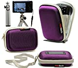 Navitech Purple Water Resistant Hard Digital Camera Case Cover & Compact Stand For The Panasonic Lumix DMC-TZ40 / DMC-TZ30 / DMC-TZ35 / DMC-SZ9 / DMC-SZ3 / DMC-XS3 / DMC-XS1 / DMC-LX7 / DMC-LF1 / DMC-F5 / MC-FT5 / DMC-FT25 / GM1