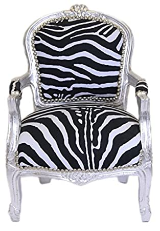 Casa Padrino Baroque Highchair Zebra / Silver - armchair - Antique furniture