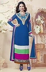 Exquisite Indigo Blue Churidar Kameez Semi Stitched Material