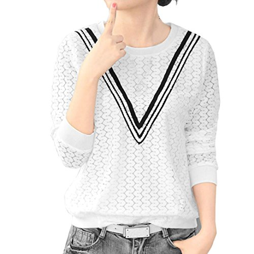 Koly_Donna Autunno Inverno Camouflage a maniche lunghe T-shirt camicetta superiore (M)