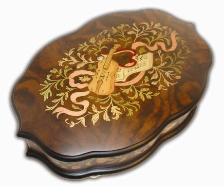 Beautiful Dark Wooden Violin Inlaid Ercolano Musical Jewelry Box 36 Note (Happy Birthday)