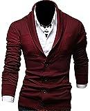 Keral Slim V-Neck Pure Colour Cotton Blended Mens Knit Cardigan