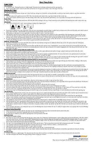 Official Beer Pong Rules & Regulations - 11 x 17 Laminated For Easy Cleaning