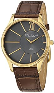 Stuhrling Original Men's 553.3335K54 Classic Cuvette SD 23k Yellow Gold-Plated Stainless Steel and Brown Leather Watch