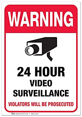 """24 Hour Video Security Surveillance Vinyl Sign - 7x10"""" Sticker Self-Adhesive Decal Poster - Weatherproof, 2PK, By ARMO"""
