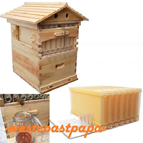 7 PCS High Efficiency Flow Honey Beekeeping Frames Wooden Beehive House Box (Honey Bee House compare prices)